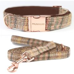 the new WOOL dog collar and leash set - handmade with rose gold colored hardware - shop www.prunkhund.com #collar #dogcollar #leash