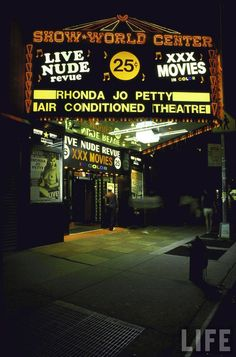 Active items in the Life archives, photographs by Ted Thai with porn shops in Times Square in 1986