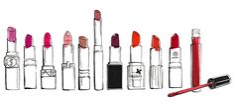 illustration Revlon | Elle lipstick fashion illustrations