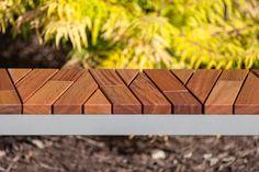 Boardwalk Bench with Atlantic City Boardwalk FSC Recycled reclaimed Cumaru hardwood slats and Aluminum Texture powdercoated frame