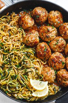 Garlic Butter Meatballs with Lemon Zucchini Noodles - This easy and nourishing skillet meal is absolutely fabulous in every way imaginable! Garlic Butter Meatballs with Lemon Zucchini Noodles - This easy and nourishing skillet Lemon Zucchini, Yellow Zucchini Recipes, Healthy Zucchini Recipes, Zucchini Dinner Recipes, Zucchini Noodle Recipes, Potato Recipes, Pasta Dishes, Casserole Recipes, Vegetable Recipes