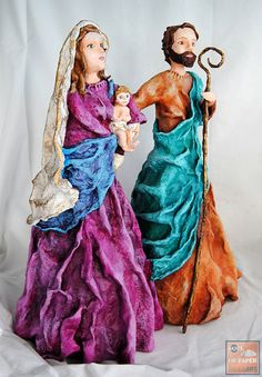 Nativity Scene Paperclay Sculpture Handmade / by SoulOfPaperArt