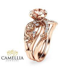Unique Morganite Engagement Ring Set 14K Rose Gold Morganite Rings Floral…