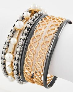 Two-tone Metal / Cream Synthetic Pearl / Lead Compliant / 7 Pcs Stackable / Bracelet
