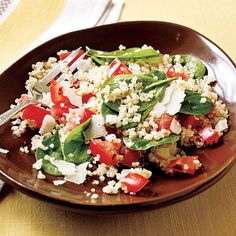 Quinoa with Spinach, Tomatoes and Roasted Garlic (may add tofu, chicken or beef)
