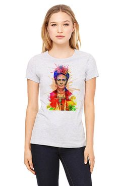 e09550a1 Frida Kahlo shirt, printed on a heather gray t-shirt, women's t-shirt, gray  tee