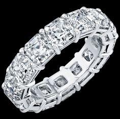 Asscher Square Diamonds Eternity Diamond Ring