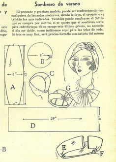 """Translation of text -- """"Summer hat: The present and graceful style, is able to made from any modern silks, faille, crepe, taffeta being the most indicated.  Also, you can employ felt which is bought by the meter, if you need  the hat to serve for autumn. If you choose the last type, it is not necessary for it to be doubled, as indicated for the silk fabrics. If this [the silk] is very fine, line it with silk batiste."""" 1931"""