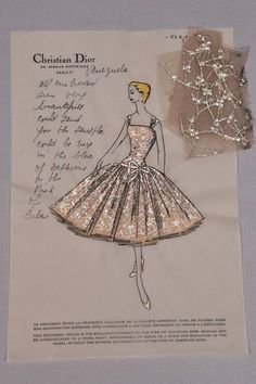 The Fashion Institute of Technology is Cleaning out its Closet Christian Dior stationery, with personal notes to client Brenda Schulman, with swatches attached Fashion Design Sketchbook, Fashion Design Portfolio, Fashion Illustration Sketches, Illustration Mode, Fashion Illustration Tutorial, Textiles Sketchbook, Sketchbook Ideas, Art Illustrations, Vintage Dior