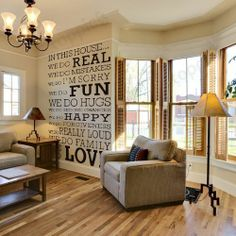 Black THIS HOUSE Quote Words Room Art Mural Wall Sticker Decal