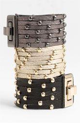 Cara Accessories Sliced Leather Studded Bracelet