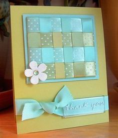 like the color scheme and use of a ribbon woven panel as the focal point of this card...