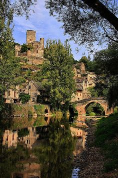 The village of Belcastel & the river Aveyron, France