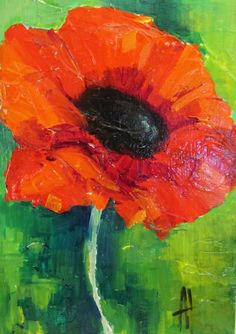 ORIGINAL ART PAINTING RED POPPY FLOWER BY ANNE THOUTHIP RECYCLE WOOD ABSTRACT #Modernism