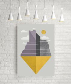 Grand Canyon slice illustration art geometric print by FLATOWL