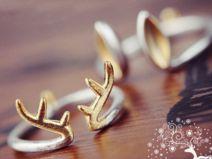 Rentier Geweih silber und gold verstellbar Ring