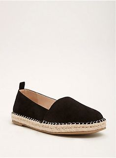 """Going somewhere? These espadrilles will inspire you. Black faux suede details the rounded toe, slip-on style, lending a luxe edge to the bound-for-vacay espadrille outer sole.<div><ul><li style=""""list-style-position: inside !important; list-style-type: disc !important"""">TRUE WIDE WIDTH: Designed so you never have to size up again.</li><li style=""""list-style-position: inside !important; list-style-type: disc !important"""">Man-made materials</li><li style=""""list-style-position: inside !important;"""
