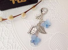 Silver Book  Planner Charm with Light Blue Crystal by PrettySang, $12.00