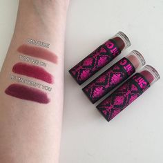 Swatches of my favorite Chi Chi Viva La Diva lipsticks! I only purchased them a little while ago but they honestly are some of the best lipsticks I own. What's your favorite lipstick? Best Lipsticks, Make Me Up, Chi Chi, Makeup Collection, Wedding Make Up, Skin Makeup, Beauty Care, Lip Colors, Skin Care Tips