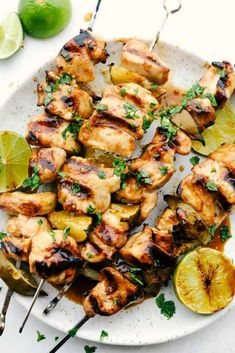 Grilled Key Lime Chicken is tender and juicy chicken drenched in key lime flavor and grilled to perfection on a skewer.  It is quick and easy to make and enjoy with your family on a warm summer night! Chili Lime Chicken, Lime Chicken Recipes, Grilling Recipes, Cooking Recipes, Meat Recipes, Free Recipes, Key Lime Flavor, Chicken Chunks, Dinner Recipes Easy Quick