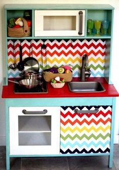 ~inspiration for compact kitchen, eh?~  mommo design: IKEA PLAY KITCHEN MAKEOVERS