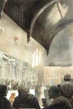 The Great Hall castle - Alan Lee (This is just how I pictured it!)