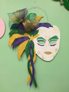 Mardi Gras mask painted Door Hanger with ribbon.
