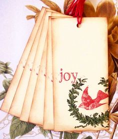 Christmas Gift Tags Joy Vintage Style Party Favor by bljgraves, $5.00