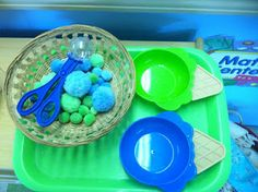 ice cream scooping fine motor  --  Creative Curriculum GOLD objectives 7a, 11a, 11b, 12b, & 13