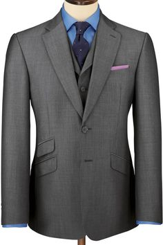 Charles Tyrwhitt Grey mohair slim fit Black Label suit - ShopStyle