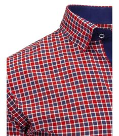 fc2ff7deb5f6 Červená pánska košela s kockovaným vzorom a dlhými rukávmi