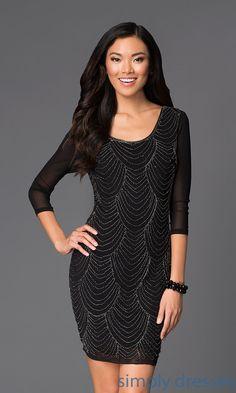 Dresses, Formal, Prom Dresses, Evening Wear: Short Beaded Scoop Neck Dress with 3/4 Sleeves VE-MYM5031