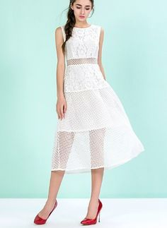 Lace Polyester Solid Sleeveless High Low Casual Dresses