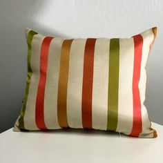 """Wide multi colored stripe pillow 12"""" x 16"""" Green, Gold, Pomegranate"""