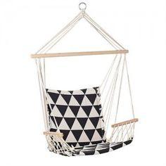 Bloomingville hangstoel Hammock zwart wit triangle