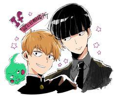 Ekubo, Arataka Reigen and Shigeo Kageyama Manga Art, Anime Manga, Anime Art, Anime Guys, Psycho 100, Mob Psycho, One Punch Man, Mob Physco 100, Kageyama