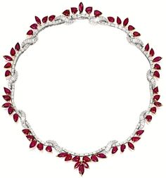 Ruby and diamond necklace. Via Diamonds in the Library.