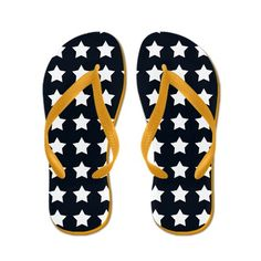 8ef50bed470c White Stars on Blue Flip Flops on CafePress.com