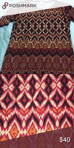 Large Julia dress Red, burnt orange black and cream EUC worn and washed once. Like new LuLaRoe Dresses Midi