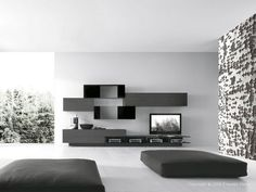 Best Collection Of Modern Living Room Wall Unit Ideas : Modern Italian Style Black TV Wall Unit with Rectangular Storage in Black and White . Minimalist House Design, Minimalist Home, Living Room Modern, Living Room Designs, Living Rooms, Tv Wanddekor, Wall Unit Designs, Modern Tv Wall Units, Black And White Living Room