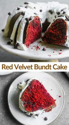 Easy and delicious Red Velvet Bundt Cake with cream cheese frosting. #cake #redvelvet #bundtcake #dessert #patriotic Sweet Desserts, Easy Desserts, Delicious Desserts, Yummy Food, Delicious Chocolate, Chocolate Flavors, Chocolate Chips, Strawberry Swirl Cheesecake, Cheesecake Strawberries