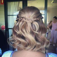 Wedding guest upstyle 💕  #braids #hair #wedding #shorthairupdo #curls #weddinghair