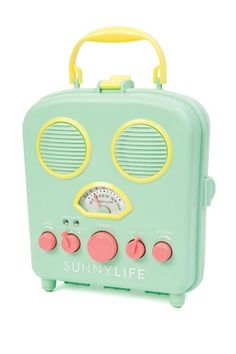"""Iluka Beach Radio & iPhone Speaker by Sunnylife  The beach radios feature an AM/FM radio, flip it open to plug your phone in to play music straight from your playlists. Close it back up to protect the phone from the sand and water. - Color: seafoam green - 6.7"""" H x 3.1"""" D x 7.9"""" W - Imported Materials Plastic $44.00"""