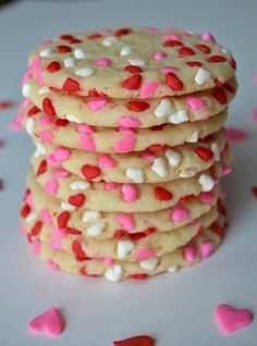 Easy Valentine's Cookies- use heart cutouts and pink/white mini m&m's and sprinkles