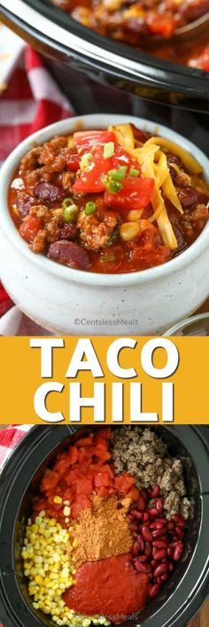Easy Taco Chili is a cozy, deliciously hot meal, ready and waiting for you the moment you get home! Beef or chicken, with taco seasoning and cheese combine to make a Tex Mex inspired slow cooker dish that will win your heart! Slow Cooker Tacos, Slow Cooker Soup, Slow Cooker Recipes, Crockpot Recipes, Bean Recipes, Chili Recipes, Taco Chili, My Favorite Food, Favorite Recipes