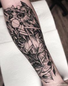 Best Sleeve Tattoos, Leg Tattoos, Body Art Tattoos, Tattoos For Guys, Tattoos For Women, Sketch Style Tattoos, Sketch Tattoo Design, Wolf Tattoo Design, Geometric Sleeve Tattoo