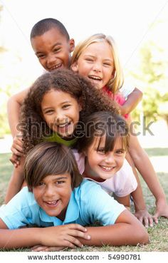 Group Of Children Piled Up In Park Stock Photo 54990781 : Shutterstock