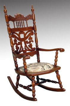 16015 Antique Victorian Carved Oak Press Back Rocker Rocking Chair: