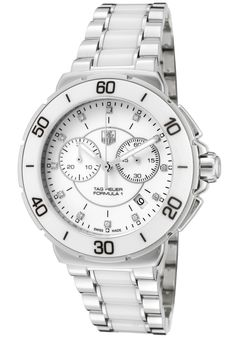 TAG Heuer Watches,Women's Formula 1 White Diamond White Dial SS and White Ceramic, Chronograph TAG Heuer Quartz Watches Tag Heuer Glasses, Tag Heuer Quartz, Tag Heuer Aquaracer Chronograph, Tag Heuer Monaco, Tag Heuer Formula, High End Watches, Seiko Watches, Luxury Watches, Tags