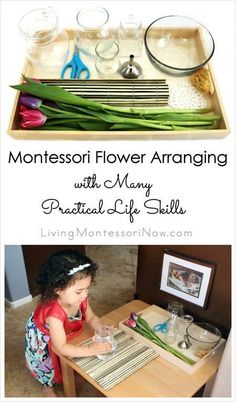 Montessori flower arranging can develop many practical life skills for preschoolers and older toddlers. Post includes video, resources, & Montessori Monday linky.